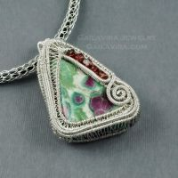 Sterling wrapped Ruby in Fuschite - View 2 by Gailavira