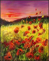 poppies at sunset by pledent