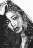 Hara Goo pen drawing by ElenaMartynyuk