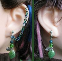 Leaf Cartilage Chain Earrings by merigreenleaf