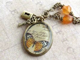 Butterfly Resin Necklace by atwistofwhimsy