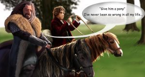 Give him a pony they said - Thorin and Bilbo by Ondjage