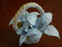 Origami basket with lilies by lantern77