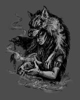 Shaman woman with the wolf by bt-v