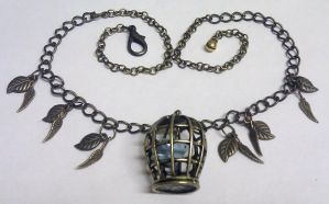 Upcycled caged bird necklace by Lovelyruthie