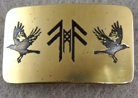 Huginn and Muninn brass belt buckle by TimforShade