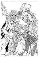 Bloodborne x Soul Sacrifice Lineart crossover by Hollow-Moon-Art