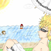 Roxas Axel Demyx at the Beach by Best-Never-Knowing