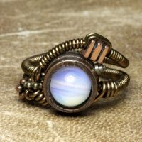 Opalite Steampunk Ring by CatherinetteRings