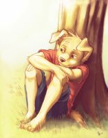 Sam sitting under a tree by oomizuao