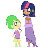 Human Twilight and Spike by robynneski
