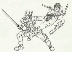 Deadpool vs Nightwing by Num1XMN
