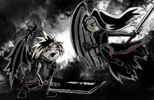 Cloud and Sephiroth Cartoon Colour by Fuzzt0ne