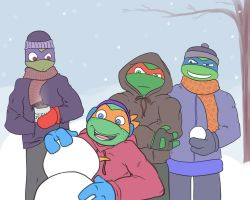 TMNT - Impending Snowball Fight by Myrcury-Art