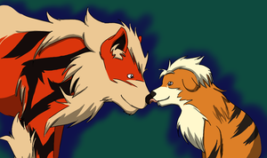 Arcanine and baby by fluffikitten