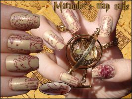 Marauder's Map Nails by JawsOfKita-LoveHim