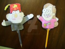 Gravity Falls pencil toppers by AJLeefan4life