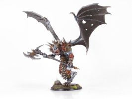Albino Daemon Prince of Khorne by goofeegrins