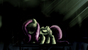 Scary FlutterShy, my little pony by ButtonsTheCatt