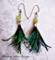 Peacock and Peridot Feather Earrings by KespeadooksitAgain