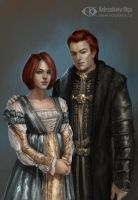 Ambrosius and Eleanor (Commission) by IcedWingsArt