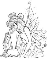Fairy Princess -lineart- by ESCanime