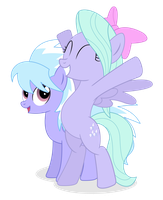 Flitter and Cloudchaser by bluemeganium