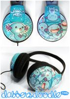 Wooper Pokemon Headphones by DablurArt