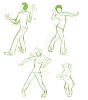 Dancing people doodles by elkerae