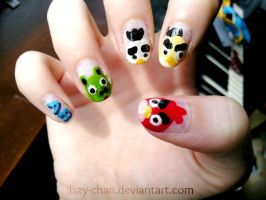 Chibi Angry Bird Nails by Iszy-chan
