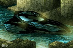 Black viper submarine by johnnymorbius