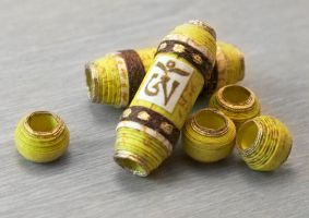Chartreuse Om Prayer Scroll Beads by OneUrbanTribe