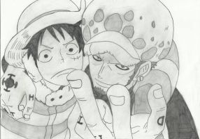 Luffy and Law by kuba567g