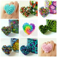 Duct Tape Heart Rings by QuietMischief