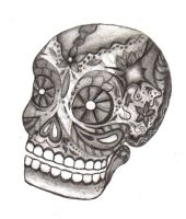 Day of the Dead skull BW by BlackMageChan