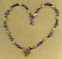 Citrine Amethyst Necklace by PurpleGoddess