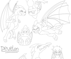 Just a bunch of Develon Doodles. by Kendulun-the-Kihoryu