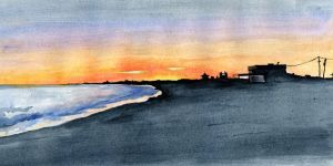 Sunset at the beach watercolor by cnigrelli185