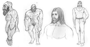 Sketchdump - Manly Men and Zombies by khyterra