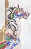 Carousel Horse Acrylic Painting by silveryfeather208