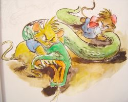 Fighting the snake by Chevic