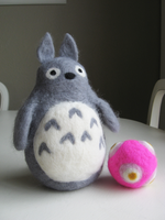 Felted Wool Totoro and Katamari by mrskupe