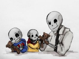 Undertale doodle - Baby Bones and Teddys by RabenPrinzessin