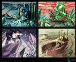 Fantasy environment thumbnails by ToBuildARocketShip