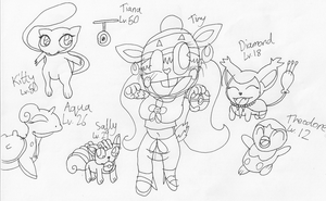 Tiny and her Pokemon by RussellMimeLover2009