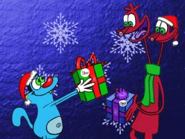 Merry X-Mas to you too, Oggy by LazyAsHell