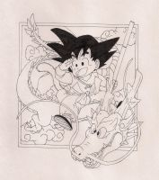 Goku and Shenron by michalecr