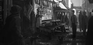 19th Century Butcher production painting by RhysGriffiths