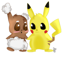 Buneary and Pikachu Chibi by Queen-iee-oh