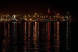 Harbour at night by PeterTBexley
